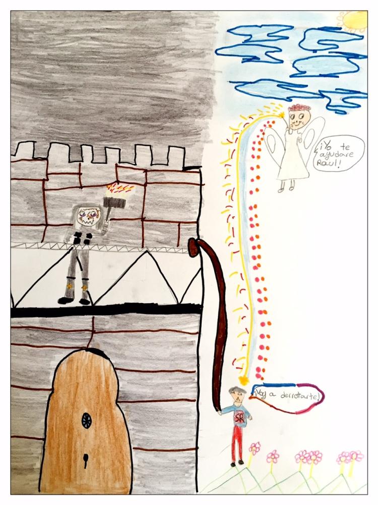 Un ángel ayuda a Raúl en la batalla contra el rey Tronan. Dibujo de Luna Bolea.